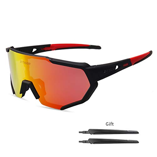 X-TIGER Polarized Sports Sunglasses with 3 Interchangeable Lenses,Mens Womens Cycling Glasses UV400 Protection,Running Fishing Driving Sunglasses(Black and Red)