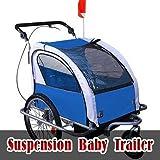 Aosom Elite II 3in1 Double Child Bike Trailer, Blue
