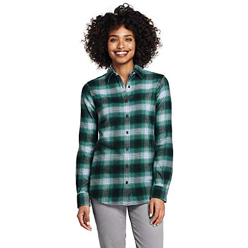 Lands' End Women's Flannel Shirt, 6, Teal Green Plaid