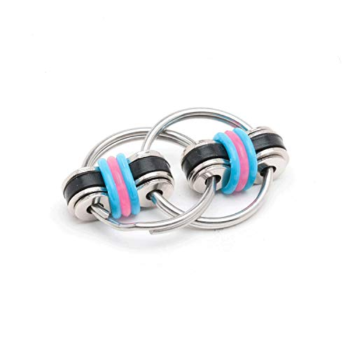 Stephie Fidget Toy - As Seen on Shark Tank - for ADD/ADHD, Stress, Anxiety. Silent. Great for School & Office (Black/Aqua/Pink)