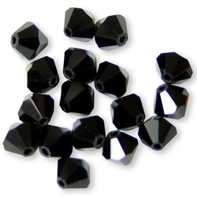 100 pcs  3mm Swarovski 5301 Crystal Bicone Beads, Jet, SW-5301