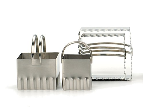 RSVP International Endurance Stainless Steel Set of 4 Biscuit Cutters, Rippled Edge Square, Silver, Rippled Edge Square