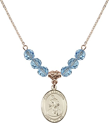 18-Inch Hamilton Gold Plated Necklace with 6mm Aqua Birthstone Beads and Gold Filled Saint Sebastian/Wrestling Charm. by F A Dumont