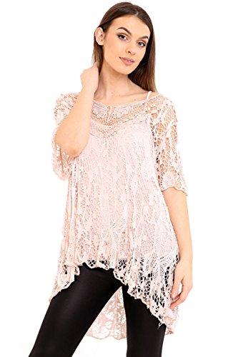 Bajo de Lagenlook grande Zaif Conjunto A encaje Biscornu Doble 8 Blusa Capas Alto Tejido de Camiseta Crochet Rosa italiano malla Mujer Hari granel o Uk sin 22 Tama mangas E44qY6