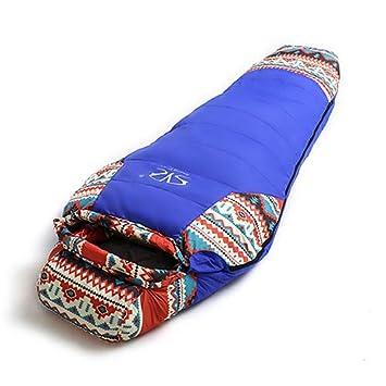 Estilo étnico Abajo del Saco de Dormir del Sobre con Capucha Saco de Dormir Caliente Impermeable para Acampar al Aire Libre de Viaje,Blue: Amazon.es: ...