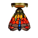 Tiffany Ceiling Lamp Handmade Glass Art Red Dragonfly Chandelier Alloy Base 6 Inch Lamp E27 - Indoor Living Room Porch