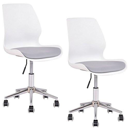 (Giantex Set of 2 Molded Chair Height Adjustable Upholstered Seat Swivel Mid Century)