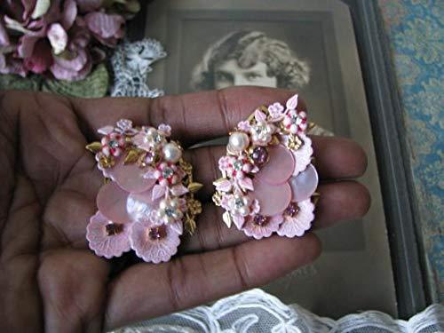 hongnguyen Vintage Miriam Haskell Style Earrings, Vintage Rhinestone Earrings, Vintage Clip On Earrings, Vintage Flower Earrings, Mother of Pearl