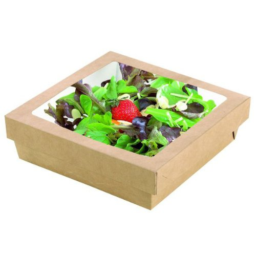 PacknWood PK210KRAYB195 Packwood Square Kray Brown Box with Window Lid 7.1'' (Pack of 50)