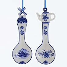 "Kurt Adler 5"" Porcelain Delft Blue Spoon Ornament 2/asstd"