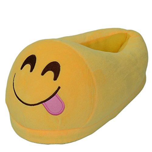 Ea @ Marché Unisexe-adulte Dessin Animé Emojiwinter En Peluche Intérieure Pantoufles No.4 Emoji
