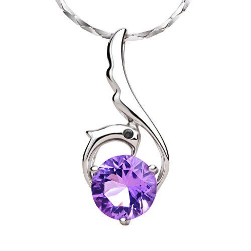 (iSTONE Natural Amethyst Pendant Necklace Phoenix Design 925 Sterling Silver Chain 16 inch)