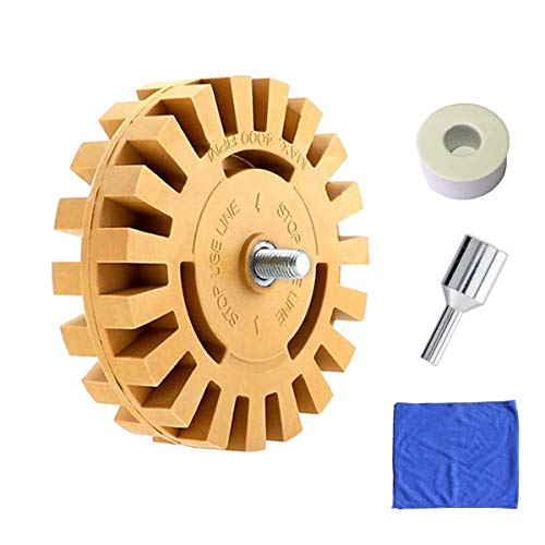 Rubber Eraser Wheel 4 Inch with Drill Adapter,Car Washing Cloth - Pinstripe,Double Sided Adhesive,Vinyl Decal,Graphics Removal Tool by BAYICLAN (Wheel Adapter Abrasive)