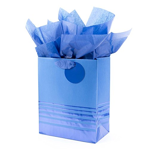 Hallmark Medium Gift Bag with Tissue Paper for Birthdays, Father's Day, Graduations, Weddings and More (Blue Foil Stripes)
