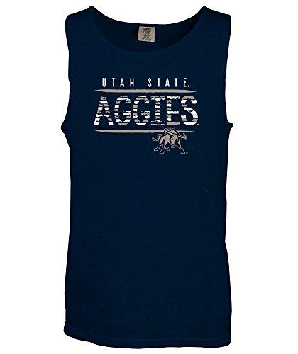 Aggies State Top - NCAA Utah State Aggies Bricks Comfort Color Tank Top, XX-Large,TrueNavy