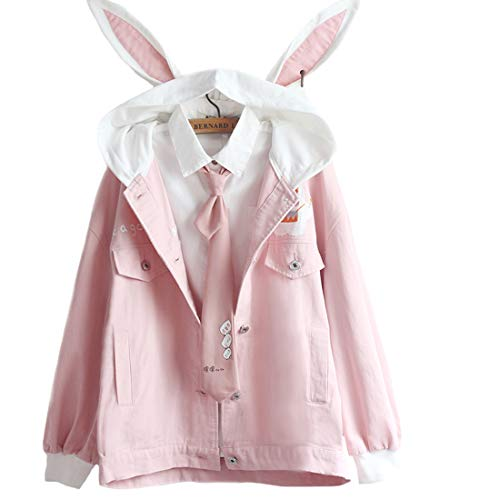 Kawaii Hoodie voor meisjes, schattig konijntje, borduurwerk, trui, sweatshirt met lange mouwen, met zak, casual tops…
