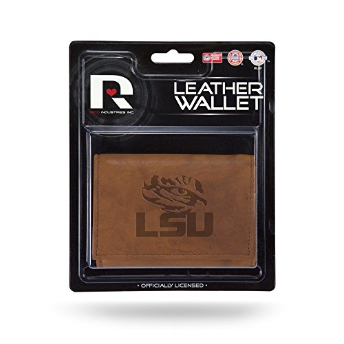 Tigers Tri Fold Leather - Rico Industries NCAA LSU Tigers Leather Trifold Wallet with Man Made Interior