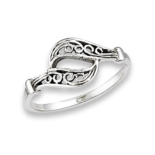 Sterling Silver Women's Filigree Swirl Oxidized Wave Ring (Sizes 5 - 9) (Ring Size (Wide Filigree Swirl Ring)
