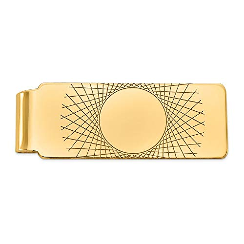 Yellow Gold Carved Money Clip - Men's 14k Yellow Gold Carved Fold-Over Money Clip, 20mm wide