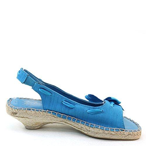 Nya Brieten Kvinnor Rosett Låg Halm Klack Cut Komfort Sandaler Blå