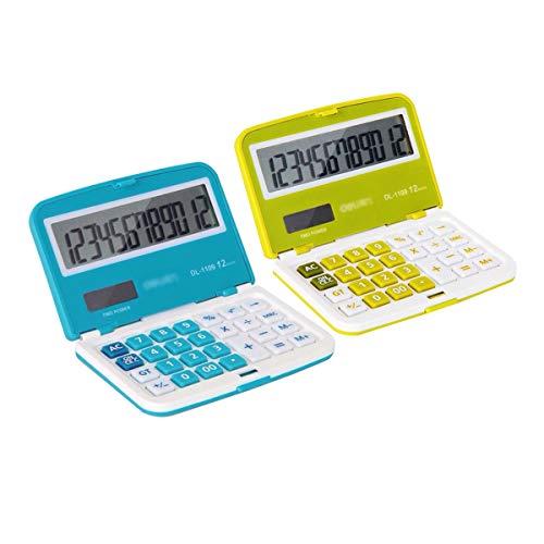 Felice Great Small Solar/Battery-Powered Basic Calculator Flat Folding Pocket Calculator Business Calculator (Green) by Felice