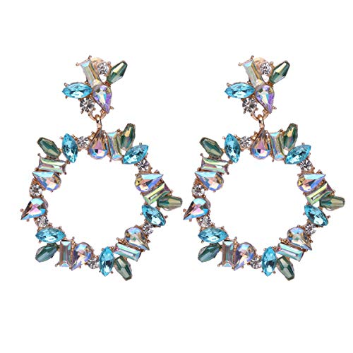 Barabum Bohemian Rhinestone Dangle Drop Tiered Tassel Druzy Flower Stud Earrings Women Gift (Blue)