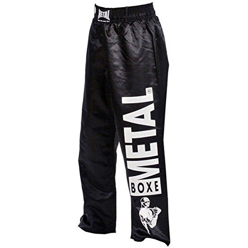 Metal Boxe. Pantalones full contact de color negro, 160 cm con inscripción Metal Boxe