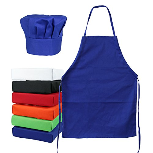 Tessa's Kitchen Kids - Child's Chef Hat Apron Set, Kid's Size, Children's Kitchen Cooking and Baking Wear Kit for Those Chefs in Training (M 6-12 Year, Blue)