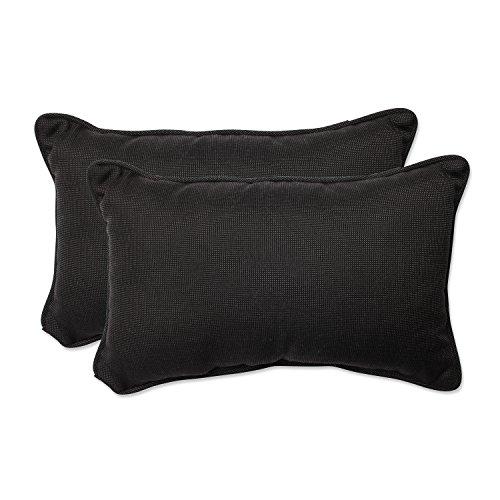 (Pillow Perfect Outdoor/Indoor Tweed Rectangular Throw Pillow (Set of 2), Black)