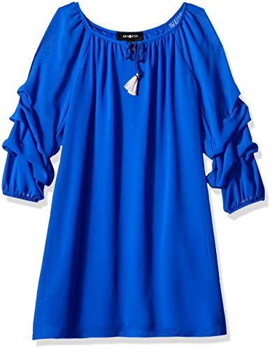 Amy Byer Girls' Big Line Dress with Pickup Sleeves, neon Cobalt 7