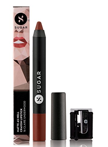SUGAR Cosmetics Matte As Hell Crayon Lipstick 16 Claire Underwood (Burnt Orange) With Free Sharpener, 2.8 gms