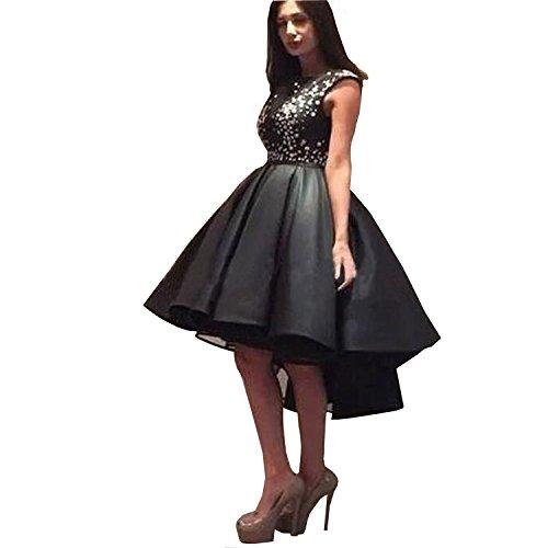 - Dimei Black High Collar Satin Prom Dress Women's High Low Cap Sleeves Formal Evening Dress