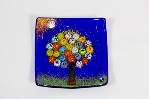 Via Graceffo Murano Glass Tree of Life Plate, Small, Cobalt