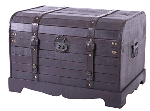(Antique Style Black Wooden Steamer Trunk, Coffee)