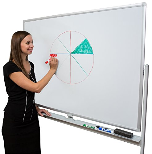Induxpert Giant Mobile Dry Erase Rolling Whiteboard - Double-Sided and Magnetic Board on Stand - Flip Sides Quickly With Lock/Unlock Feature - Sturdy Frame - Easy to Clean and Assemble - 47 X 36 by INDUXPERT