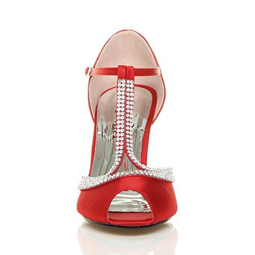 High Women Ajvani Sandals Shoes Bar Size Heel T Red vCw5q4w