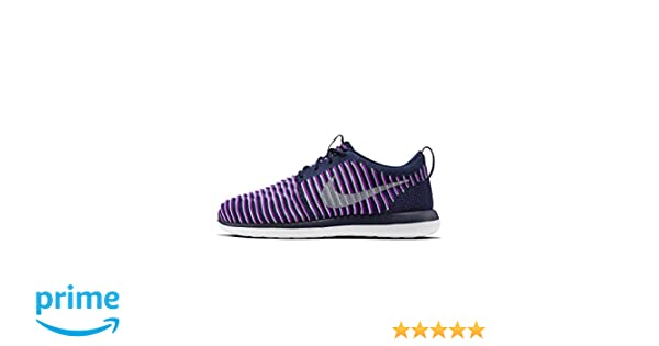 df355965673 Amazon.com | Nike NIKE ROSHE TWO FLYKNIT (GS) girls running-shoes  844620-500_3.5Y - VIVID PURPLE/METALLIC SILVER-BLUE GREY | Running