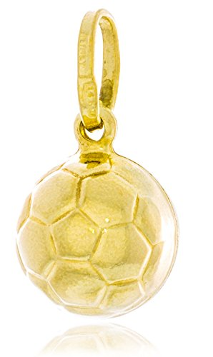 14k Solid Gold Soccer Ball - Solid Gold Soccer Ball Charm Hollow Pendant Made in Italy of 14K Yellow Gold 9.9mm in Diameter | 1.2g