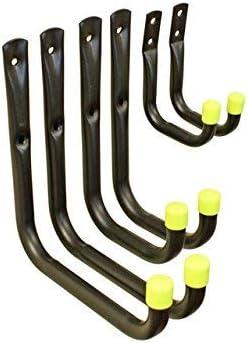 ST7004B 6 Pack Multipurpose Garage Storage Hooks, 7cm, 11cm, 17cm, Black, Multi Pack
