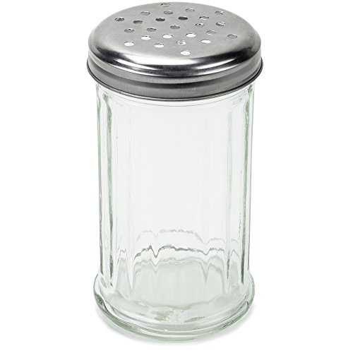 Cheese Server Grated (Spice & Cheese Shaker - 12 oz. Glass Server with Metal Lid and Extra Large Holes for Parmesan and Mozzarella by Back of House Ltd.)