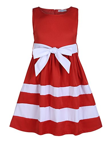 Arshiner Girls Sleeveless A-Line Twirly Ruffle Bow-Tie Patchwork Skater Party Dress Red 120(Age for 6-7 years)