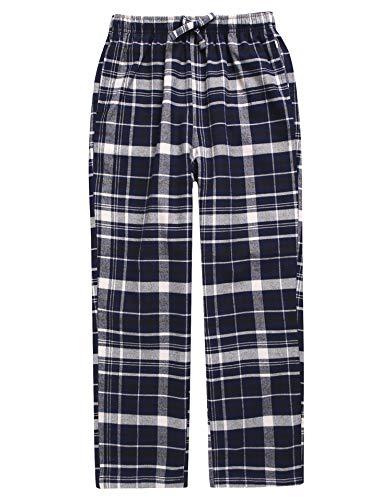 (TINFL Big Boys Soft 100% Cotton Flannel Winter Lounge Pants BLP-SB028 Navy XL)