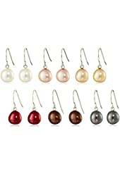Sterling Silver Freshwater Cultured Pearl Dangle Earrings, Set of Six (7-8 mm)