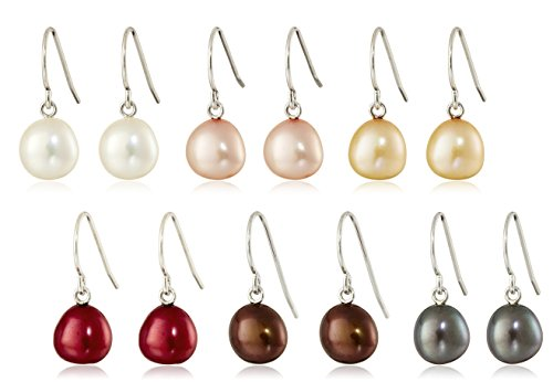 Sterling Silver Set of Six Multicolored 7-8mm Freshwater Cultured Pearl Dangle Earrings