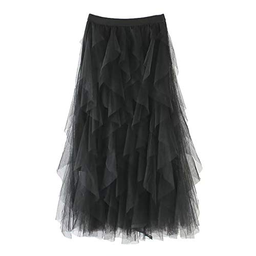 2019 Women A-Line Skirt Princess Long Skirt Tutu Tulle Petticoat Petticoat Basic Irregular Pleated Ball Gown Skirts (Black, Free Size) by Tanlo (Image #1)