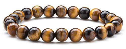 (Hamoery Men Women 8mm Natural Stone Beads Bracelet Elastic Yoga Agate Bracelet Bangle(Tiger Eye) )
