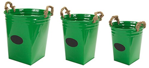 """Pack of 6 Green Metal Buckets with Chalkboard and Rope Handles 16"""""""