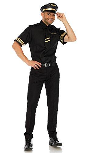(Leg Avenue Mens Pilot Flight Captain Costume, Black)