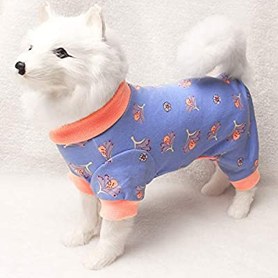 TONY HOBY Pet Clothes for Dog Pajamas with Cute Flower Pattern Pet Onesies for Puppies PJS Jumpsuit Soft Lightweight Cotton Apparel Purple