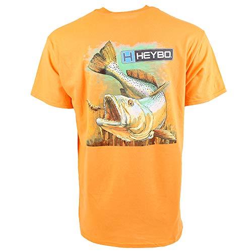 (Heybo Sea Trout Short Sleeve T-Shirt-Orange-Large)